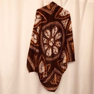 Hippy festival shawl rusty brown awesome pattern